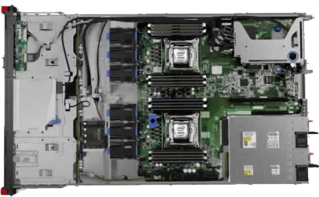 Deconstructed view of a Lenovo ThinkServer